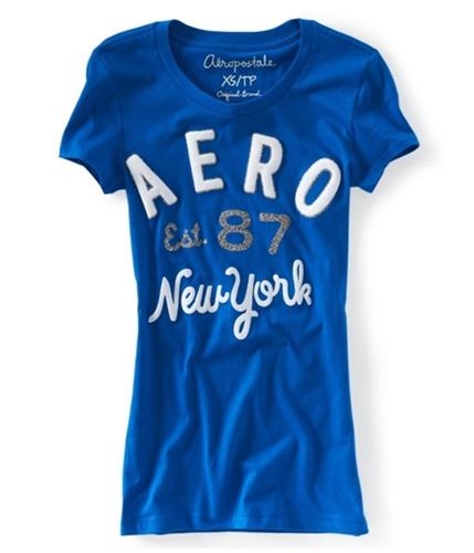 Aeropostale Womens Aero Est. 87 Glittery Graphic T-Shirt active XS