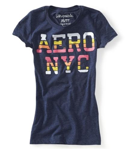 Aeropostale Womens Aero Nyc Glittery Graphic T-Shirt navyni XS
