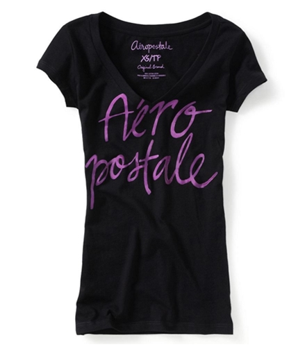 Aeropostale Womens V-neck Screen Print Graphic T-Shirt black XS