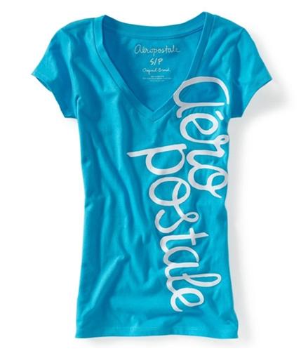 Aeropostale Womens V-neck Puff Paint Graphic T-Shirt dkblu4 XS
