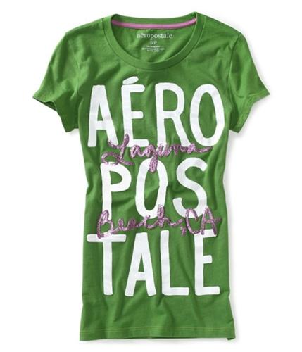 Aeropostale Womens Aero California Glittery Graphic T-Shirt green3 XS