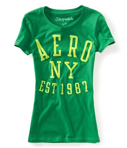 Aeropostale Womens Glittery Sparkly Graphic T-Shirt green3 M