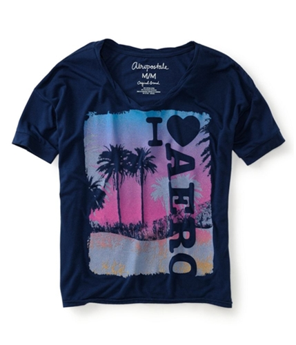 Aeropostale Womens V-neck Loose Fit Cropped Graphic T-Shirt 413 M