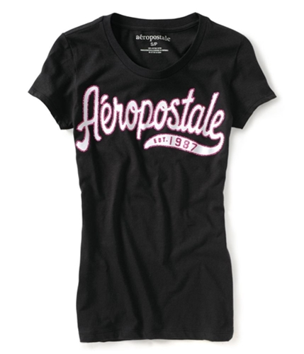 Aeropostale Womens 1987 Glittercript Graphic T-Shirt black XS