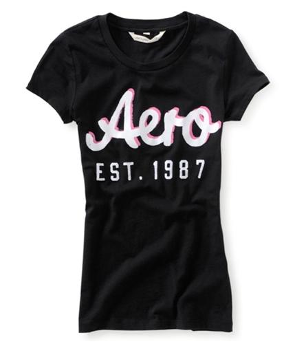 Aeropostale Womens 87 Shadow Graphic T-Shirt black XS