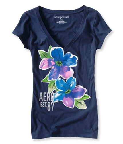 Aeropostale Womens Floral Glitter V-neck Graphic T-Shirt navyni XS