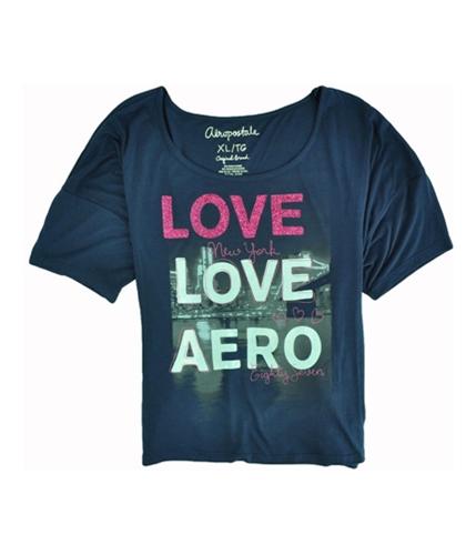 Aeropostale Womens Glitter Love New York Sleeve Graphic T-Shirt navyniblue XL