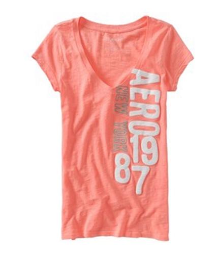 Aeropostale Womens Puff Painted Aero Ny 1987 Graphic T-Shirt corallorange S