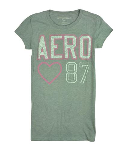Aeropostale Womens Aero 87 Heart Glitter Crewneck Graphic T-Shirt medgrepink S
