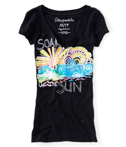 Aeropostale Womens V-neck Soak Up The Sun Graphic T-Shirt 001 XS
