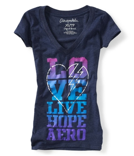 Aeropostale Womens Love Live Hope Aero Graphic T-Shirt 413 M