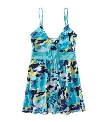 Aeropostale Womens Floral Babydoll Cami Tank Top oceanc XL