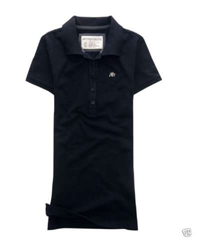 Aeropostale Womens Uniform A87 Logo Polo Shirt black S