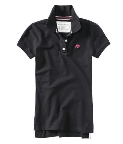 Aeropostale Womens A87 Polo Shirt black XS