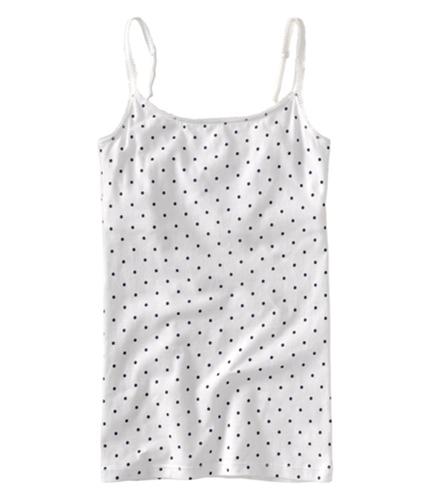 Aeropostale Womens Polka Dot Lace Spaghetti Strap Halter Cami Tank Top bleach M