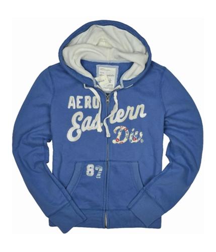 Aeropostale Womens Div Zip Up Hoodie Sweatshirt cadetblue L