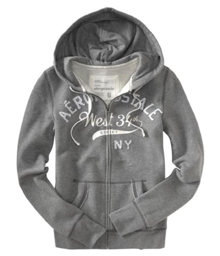 Aeropostale Womens Zip Front Hoodie Sweatshirt mediumgray XS