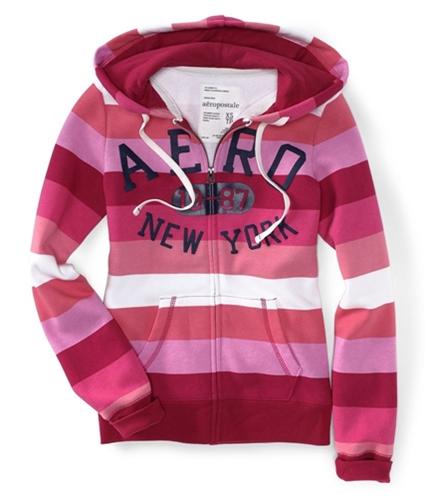 Aeropostale Womens Zip Up Multi-color Stripe Hoodie Sweatshirt redcla S