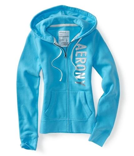 Aeropostale Womens Aero Ny Zip Up Hoodie Sweatshirt aqua12 M