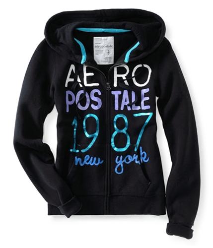 Aeropostale Womens Full Zip Up 1987 New York Hoodie Sweatshirt 001 XL