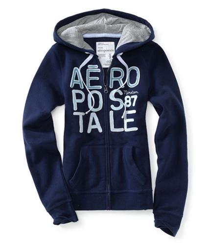 Aeropostale Womens Full Zip Up Embellished Hoodie Sweatshirt 413 XS