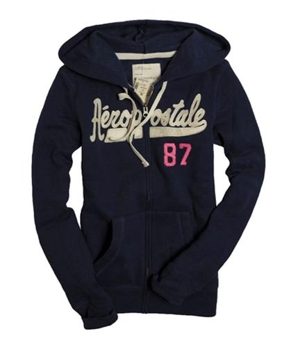Aeropostale Womens Zip Up Embroidered Hoodie Sweatshirt navyni S