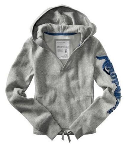 Aeropostale Womens V-neck Drawstring Hoodie Sweatshirt lththrgray XS
