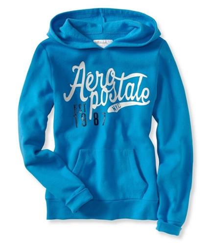 Aeropostale Womens Nyc Est 1987 Hoodie Sweatshirt ltblue XS