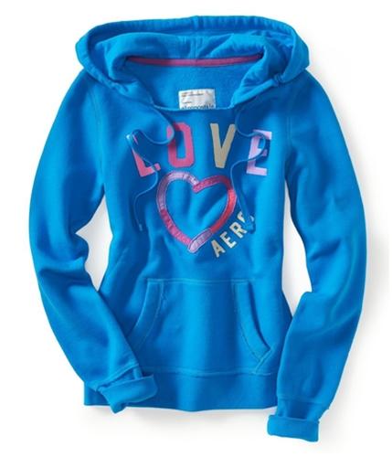 Aeropostale Womens Heart Puff Paint Hoodie Sweatshirt ltblue S