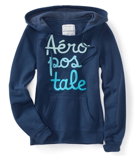 Aeropostale Womens Embroidered Hoodie Sweatshirt navyni M