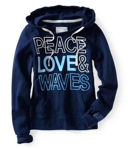 Aeropostale Womens Peace Love & Waves Pull Over Hoodie Sweatshirt 413 M