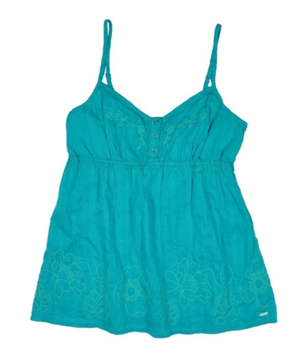 Aeropostale Womens Embellished Floral Cami Tank Top realteal M