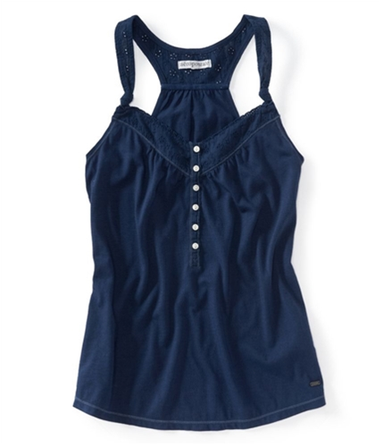 Aeropostale Womens Solid Color Eyelet Tank Top 413 S