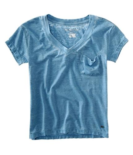 Aeropostale Womens V-neck Pocket Graphic T-Shirt heavenlyblue S