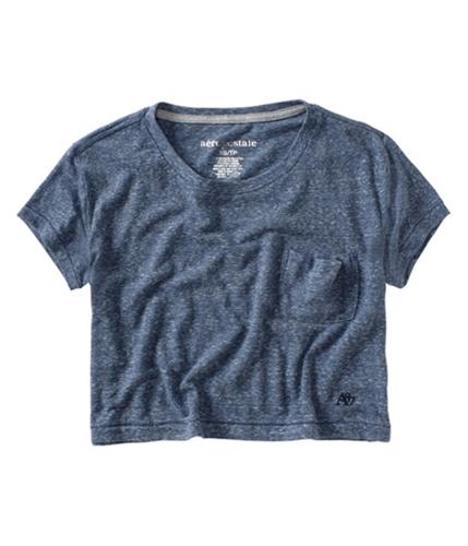 Aeropostale Womens Cropped Half Pocket Basic T-Shirt denimblue XS