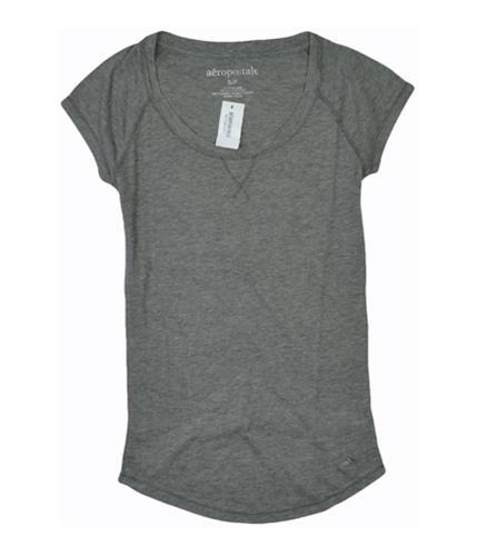 Aeropostale Womens Solid Crew Basic T-Shirt mediumgray XS