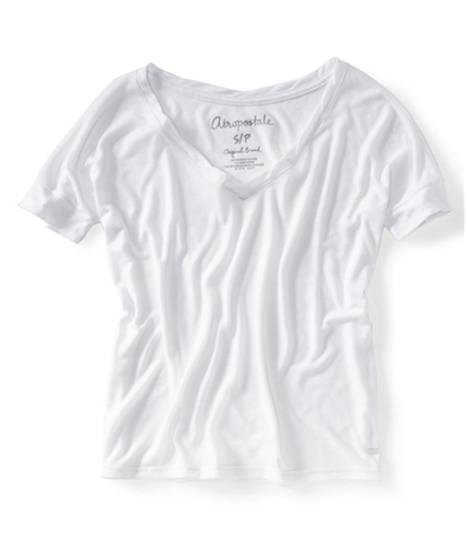 Aeropostale Womens Solid V-neck Graphic T-Shirt 001 S