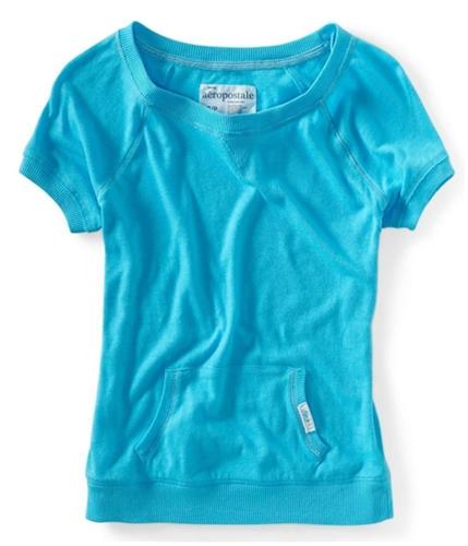 Aeropostale Womens Kangaroo Pocket Crew Neck Graphic T-Shirt 420 M