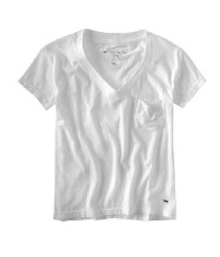 Aeropostale Womens V-neckpocket Basic T-Shirt bleachwhite XS