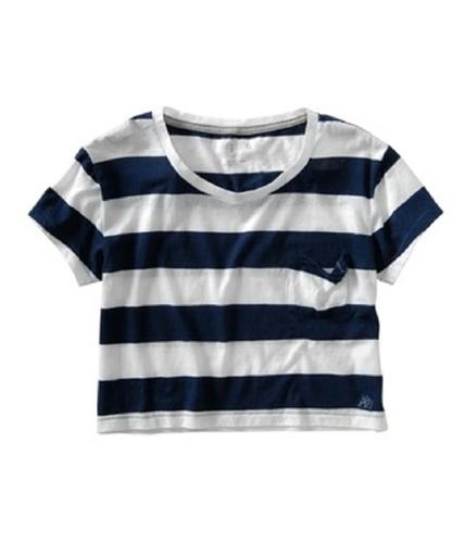 Aeropostale Womens Stripped Cropped Basic T-Shirt navyblue M