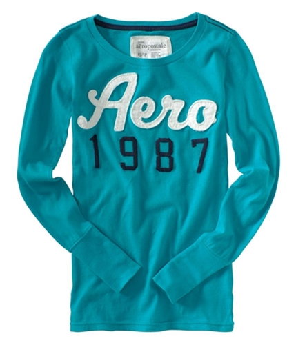 Aeropostale Womens Embroidered Long Sleeve Graphic T-Shirt tealli XS