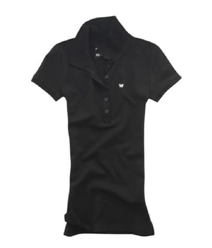 Aeropostale Womens Uniform Butterfly Polo Shirt black XS