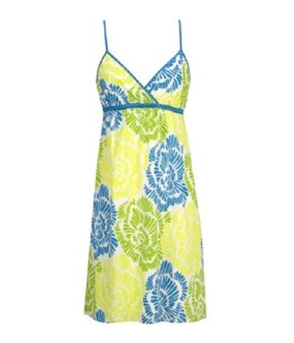 Aeropostale Womens V-neck Casual Floral Tank Sundress peargreenblueyellow S