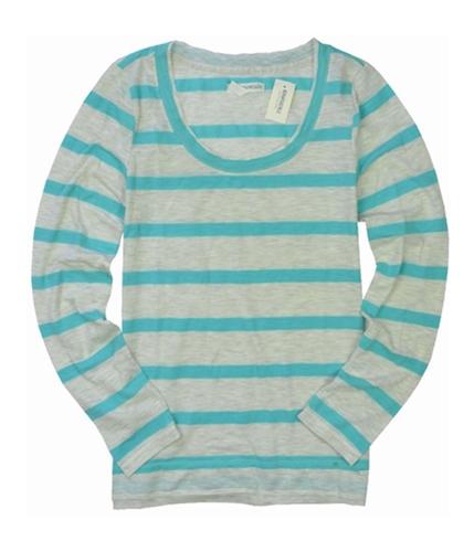 Aeropostale Womens Long Sleeve Stripe Graphic T-Shirt paleaqua L