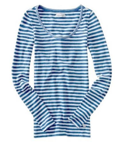 Aeropostale Womens Long Sleeve Stripe Graphic T-Shirt cadetblue S