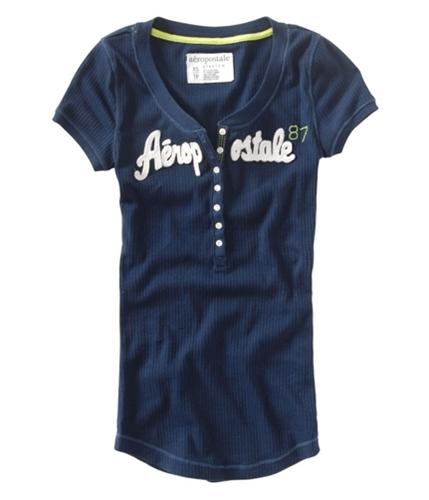 Aeropostale Womens Embellished Henley Shirt navynightblue S