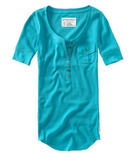 Aeropostale Womens Ribbed Button Down Sleeve Henley Shirt cleart M