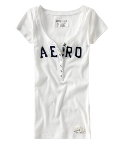 Aeropostale Womens Aero Henley Shirt bleachwhite M