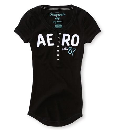 Aeropostale Womens Embellished Sleeve Henley Shirt 001 XS