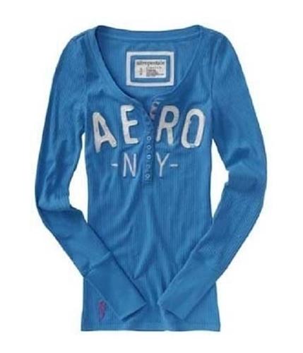 Aeropostale Womens Aero Ny Henley Shirt mediumblue S